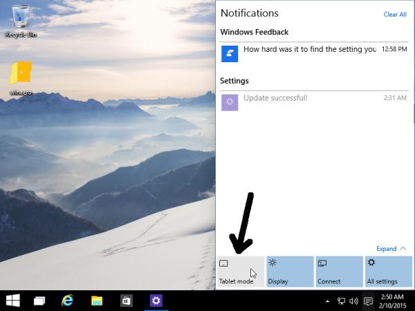 tablet mode notification center button
