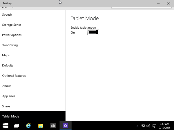 tablet mode system settings switch