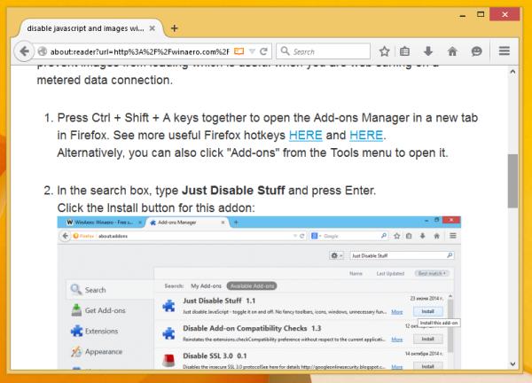 winaero reader mode in Firefox2
