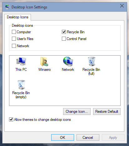 Desktop Icon Settings after