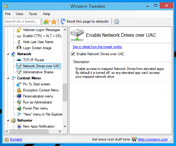 Winaero Tweaker network drivers over UAC