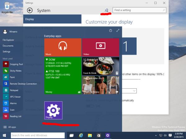 Windows 10 Display Settings Pinned to Start menu