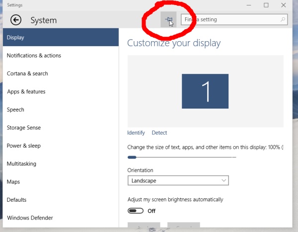 Windows 10 Pin Settings to Start Menu