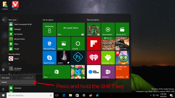 Windows 10 Start menu Restart item hold shift
