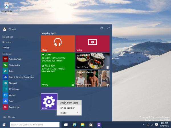 Windows 10 Unpin Settings from Start