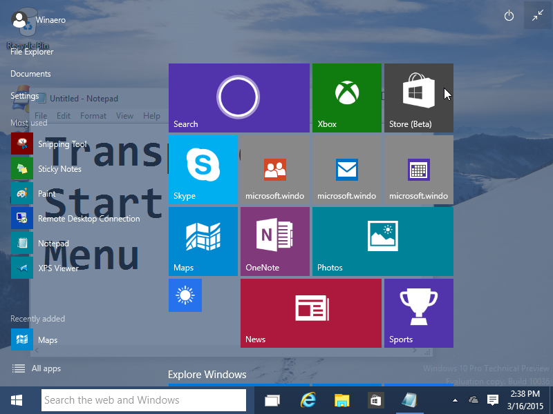 New Start Menu In Windows 10 Build 10036