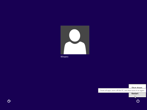 Windows 10 reboot from login screen