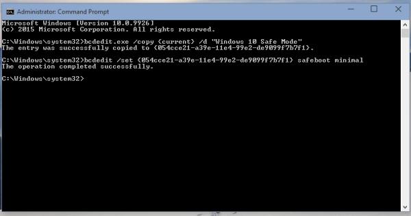 Windows 10 safe mode boot menu