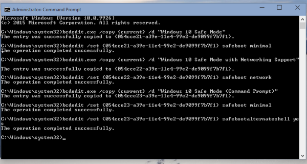 Windows 10 safe mode command prompt