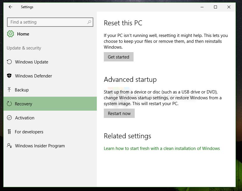 firmware settings windows 10