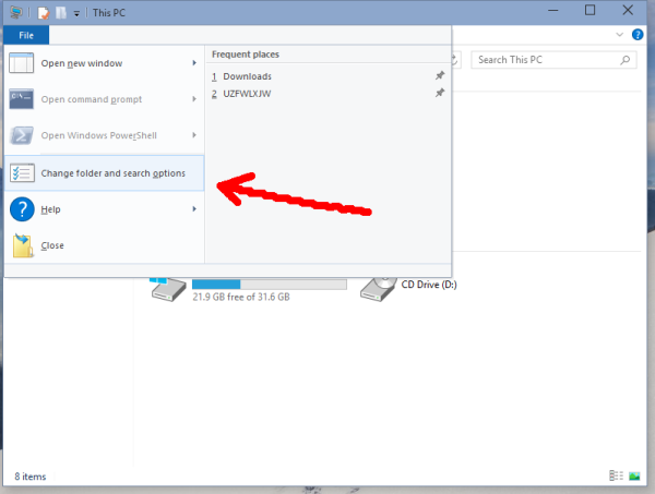 Windows 10 change folder and search options