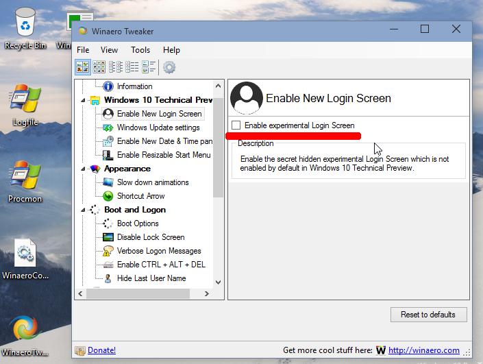 Disable New Login Screen Windows 10 Build 10041