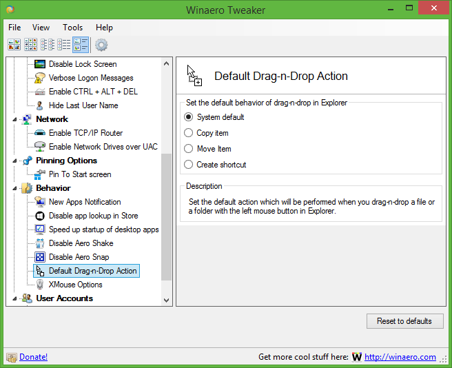 Set the default drag and drop action in Windows 10, Windows 8 and