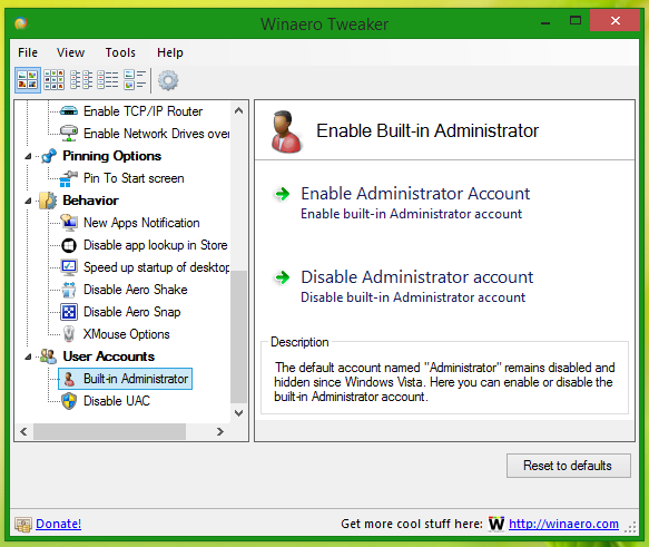 enable built in admin
