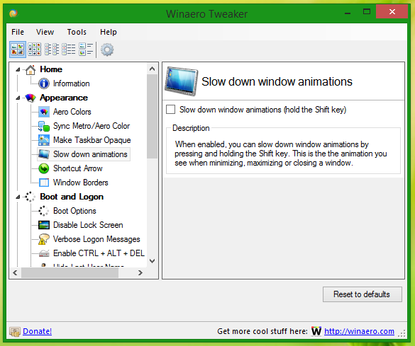 Slow down window animations in Windows 8/7/Vista with the Shift key