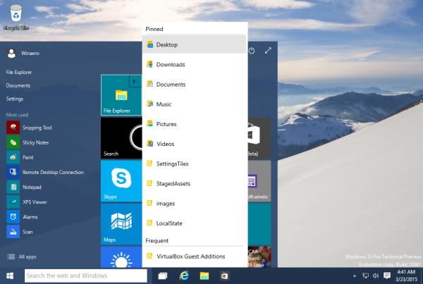 start menu jump lists windows 10 10041