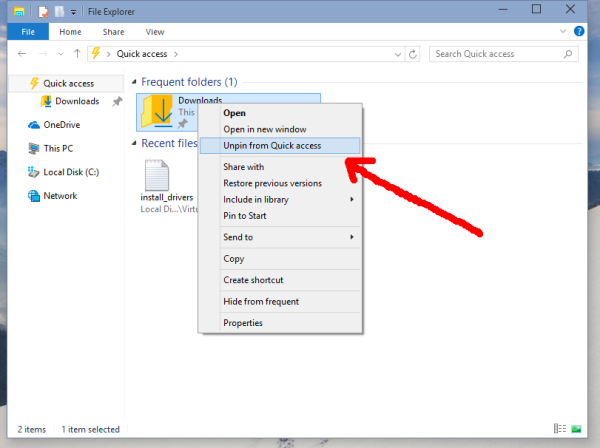 windows 10 unpin from quick access