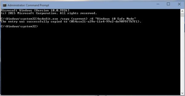 windows 10 bcdedit copy OS guid