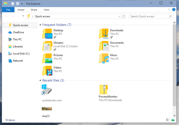 windows 10 quick access folder