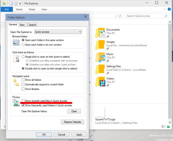 windows 10 remove recent files from quick access