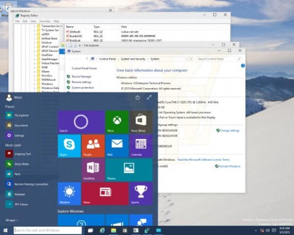 windows 10 start menu transparency