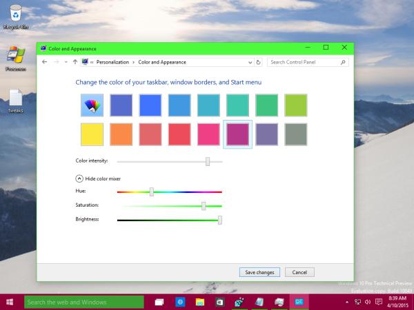 set different color for taskbar Windows 10