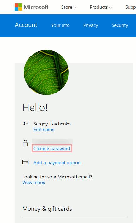 Change Microsoft Account Password Data