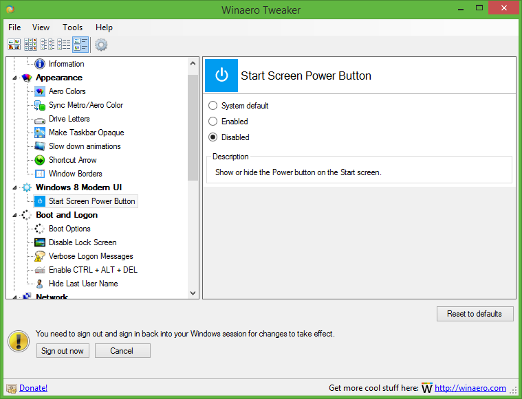 How to add the power button to the Start screen on tablets