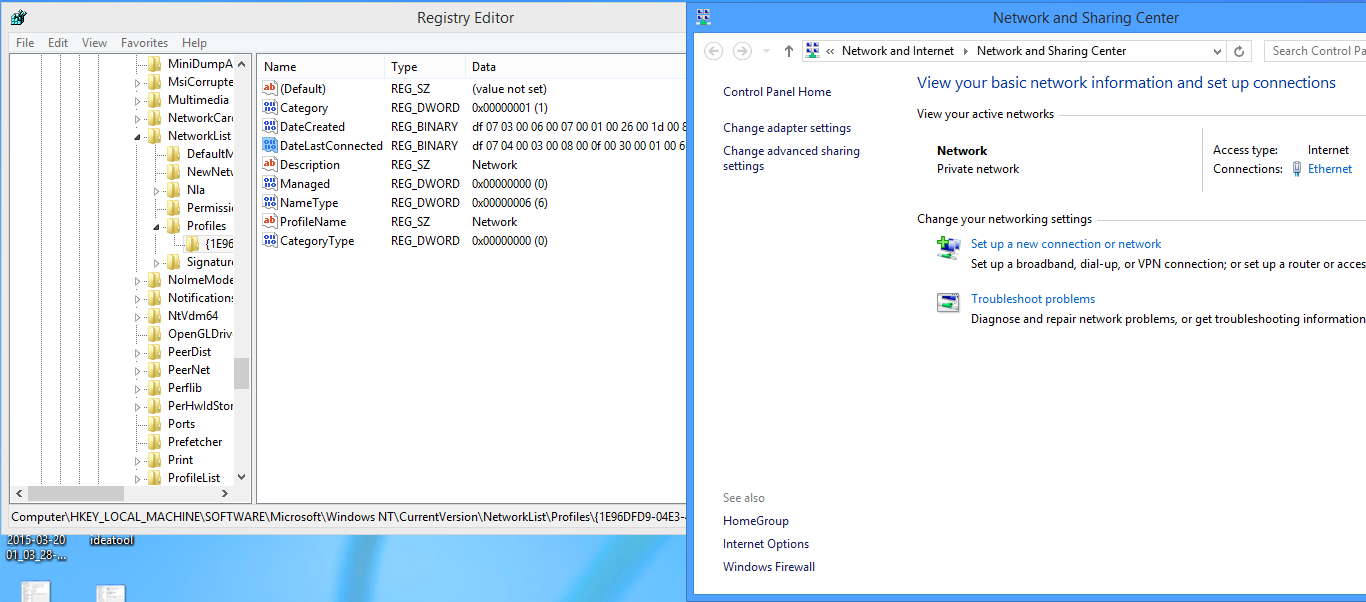 how to change wifi from public to private windows 8.1