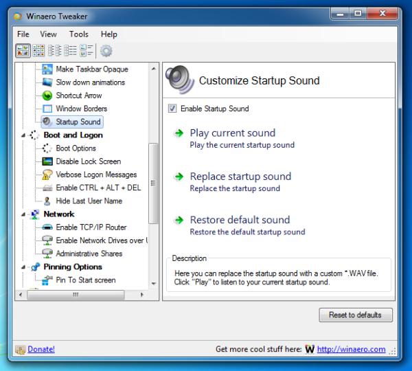 Startup Sound Changer in Winaero Tweaker