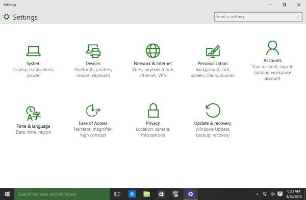 Windows 10 Settings app green