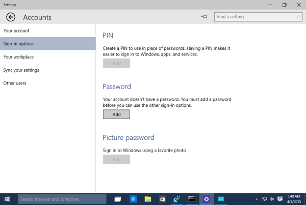 Windows 10 change password settings app