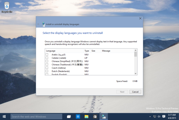 Windows 10 remove display language