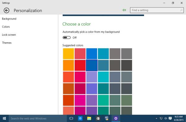 Windows 10 set taskbar color