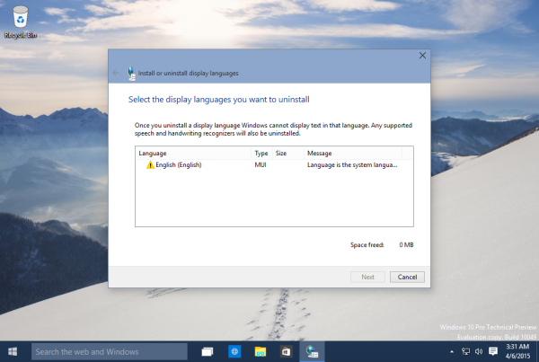 Windows 10 single display language