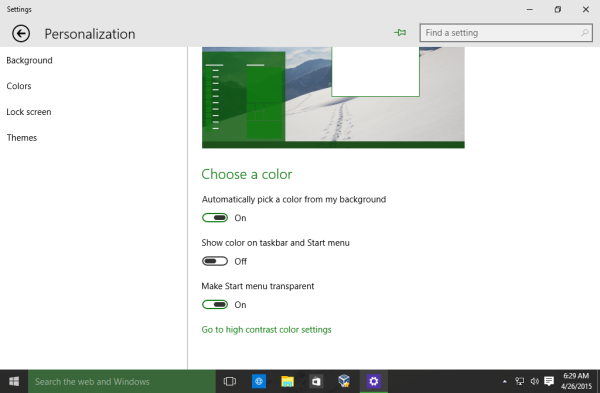 Windows 10 taskbar dark color
