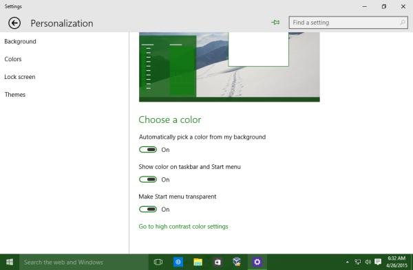 Windows 10 taskbar user color