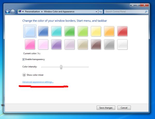 Windows 7 Advanced appearance link