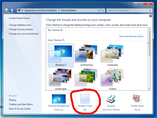 Windows 7 Personalization