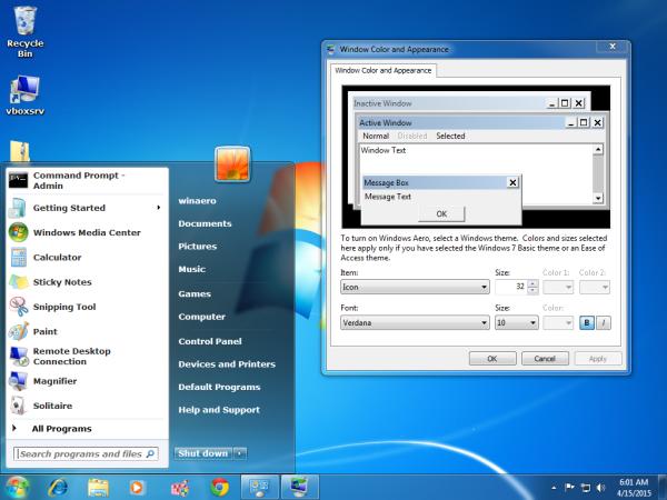 Windows 7 Start menu change font