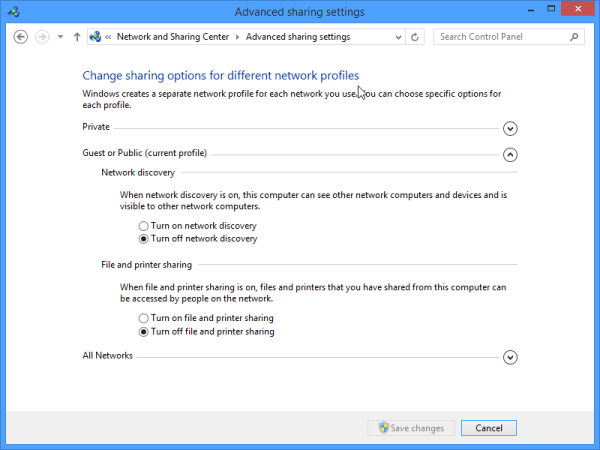 how to change from public to private network windows 8