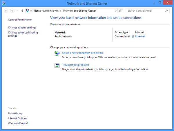 Windows 8.1 Network and Sharing Center