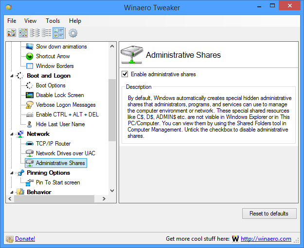 Disable administrative shares in Windows 10, Windows 8 and