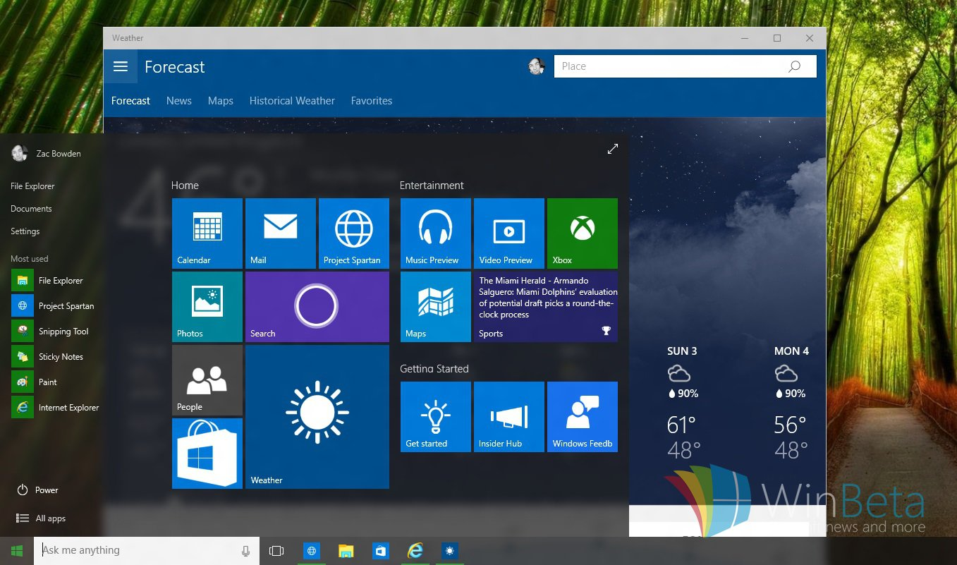 Technology Management Image: A New Build Of Windows 10 Features A Blur Effect In The
