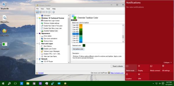 notifications center colors custom taskbar color