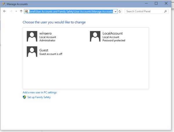 user accounts control panel Windows 10