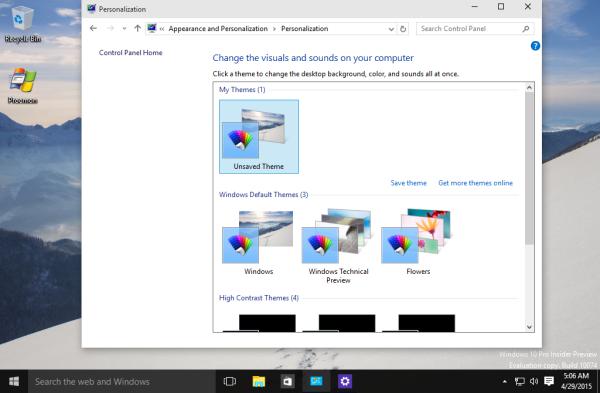 windows 10 10074 personalization classic