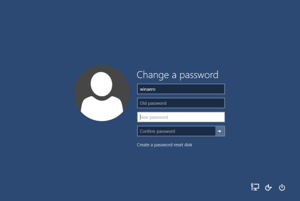 windows 10 change password
