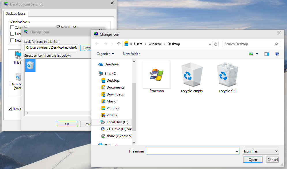 Download Recycle Bin icon from Windows 10 build 10056