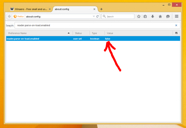 Firefox 38 disable reader mode
